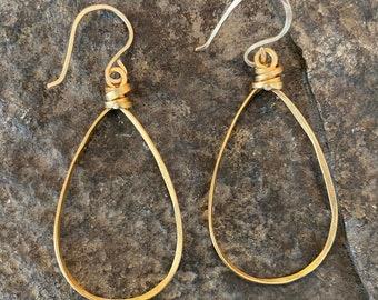 Brass Teardrop Hoop Earrings