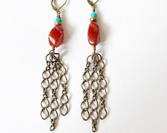 Carnelian and Turquoise Chain Drop Chandelier Earrings