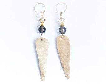 Gold-Filled Long Triangle Earrings with Smokey Quartz and Austrian Crystals
