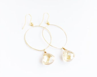 "14k Gold-Filled, Hand Shaped, Hand Hammered, Hoop Earrings with Wire Wrapped Champagne Teardrop Glass ""Crystals"""