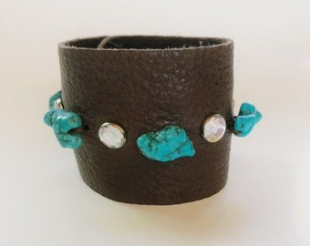 Brown Leather Cuff with Turquoise and Crystals, Wide Leather Cuff, Statement Cuff