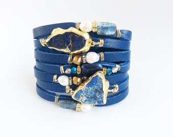 Ocean Blue Split Leather Statement Cuff with 24k Gold Framed Lapis, Kyanite, Pearls and Crystals