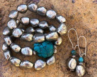 Southwestern Turquoise and Silver Bracelet and Earring Set