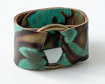 Ring of Hope Leather Cuff Bracelet with Brass Ring