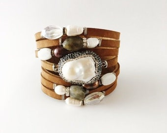 Sand Suede Split Leather Cuff Bracelet with Mother-of-Pearl Focal, Crystals, Pearls, Labradorite and Natural Gemstones
