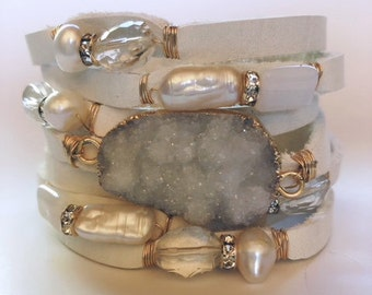 Split Leather Cuff Statement Bracelet in Off-White Eggshell Leather with Druzy, Pearls, Moonstone and Crystals