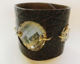 Buffalo Hide Leather Cuff Bracelet in Cognac- Brown with Large Sparkly Swarovski Crystals