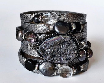 Gunmetal Gray Split Leather Cuff Bracelet with a Sparkly Druzy Centerpiece, Pearls and Crystals