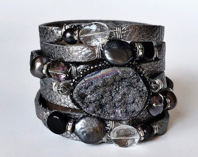 Featured listing image: Gunmetal Gray Split Leather Cuff Bracelet with a Sparkly Druzy Centerpiece, Pearls and Crystals