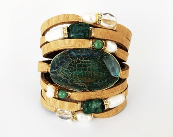 Embossed Croc Split Leather Cuff, Statement Cuff, Faceted Green Agate, Shredded Leather Cuff Gemstones, Agate, Pearls, Turquoise, Jasper