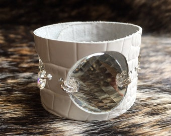 White Leather Cuff, Bracelet, Croc Embossed with Swarovski Crystals, Bling