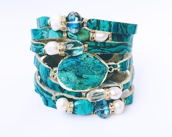 Turquoise Embossed Croc Split Leather Cuff Bracelet, Shredded Leather Cuff, with Gemstones, Turquoise, Fresh Water Pearls, Crystals