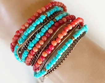Triple Wrap Bracelet - Santa Fe Sunset
