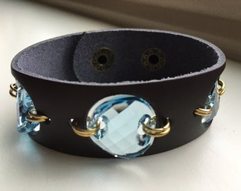 Casual Chic Leather Cuff Bracelet with a Trio of Aquamarine Swarovski Crystals
