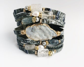 Embossed Croc Italian Split (Slit) Leather Cuff with Druzy, Pearls and Crystals in Blue - Silvery Gray
