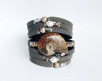 Lightly Distressed Gray Shredded Leather Cuff Bracelet with Ammonite, Freshwater Pearls and Crystal,. Handcrafted, one-of-a-kind