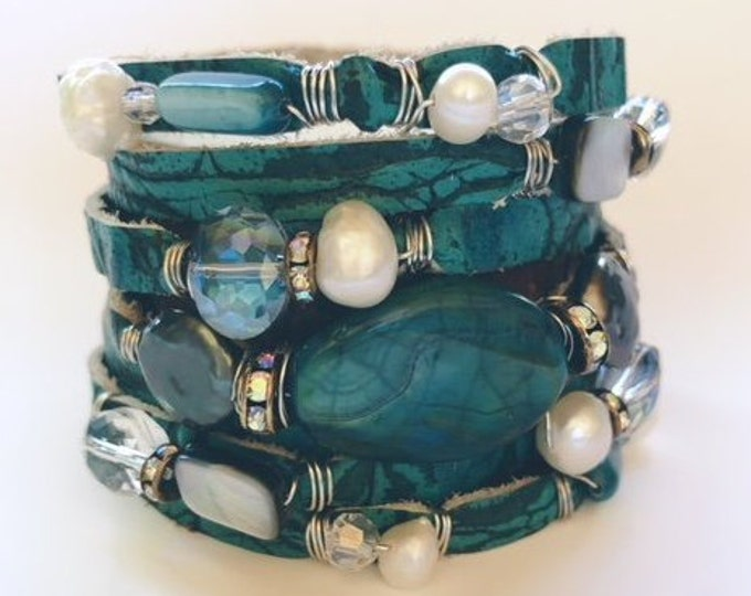 Featured listing image: Aqua Italian Gator Embossed Split Leather Cuff Bracelet with Agate, Semi-Precious Stones, Pearls and Crystals