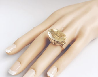 Wire-Wrapped Statement Ring with Faceted Golden Citrine, Jewelry for Well-Being