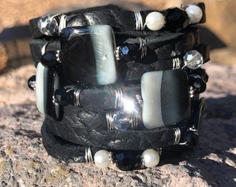 Textured Black Buffalo Hide Split Leather Cuff Bracelet, with Ombre Shells, Pearls, Crystals and Faceted Glass Beads...and Earrings!!!