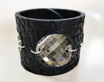 Buffalo Hide Leather Cuff in Black, with Large Silver Moonlight Swarovski Crystals