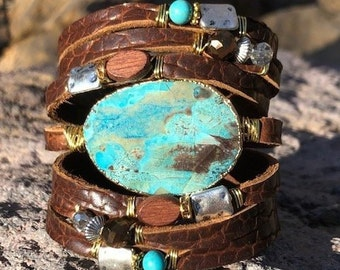 Textured Cognac Brown Split Leather Cuff, Ocean Jasper, Gemstones, Bling