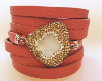 Tangerine Split Leather Cuff Bracelet with a Mother of Pearl Centerpiece Encrusted with Tiny Champagne Crystals