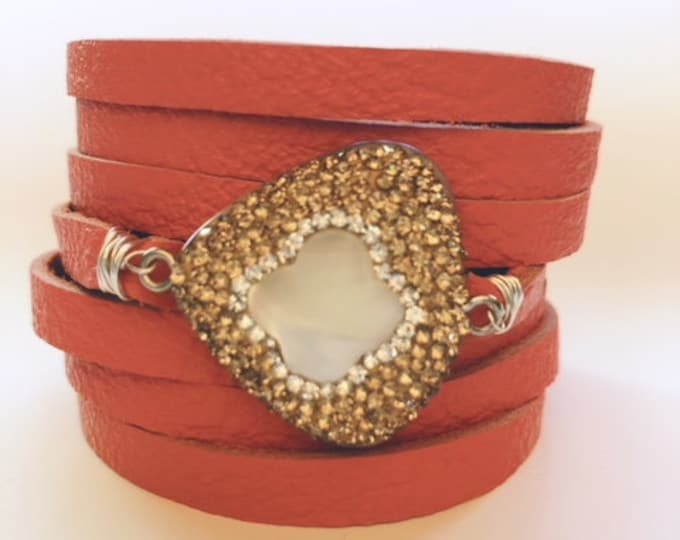 Featured listing image: Tangerine Split Leather Cuff Bracelet with a Mother of Pearl Centerpiece Encrusted with Tiny Champagne Crystals