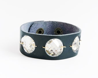Leather Cuff Bracelet with a Trio of  Sparkly Moonlit Crystal Swarovski Crystals