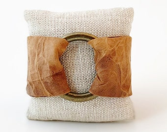 """Ring of Hope Leather Cuff Bracelet in """"Crinkle"""" Tan"""