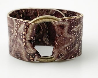 Ring of Hope Snakeskin Embossed Leather Cuff