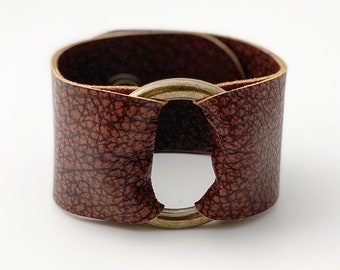 "Ring of Hope Leather Cuff Bracelet in ""Vintage Cognac"""