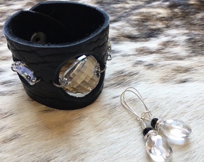Featured listing image: Buffalo Hide Leather Cuff in Black, with Large Silver Moonlight Swarovski Crystals