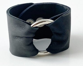 Black Leather Cuff With Silver Brass Ring