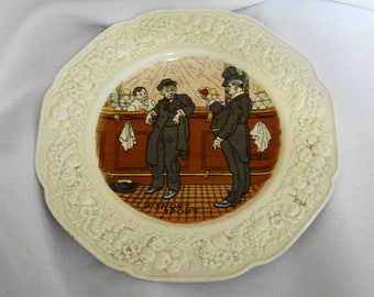 """1932 Vintage English Pub Plate Crown Ducal Florentine by Bob Dean Made in England """"A Short Sport"""""""