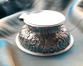 John Grinsell and Sons Antique Silver Inkwell - Cut Glass - Capstan Inkwell  - 1891