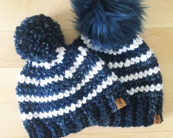 bfda98c185c Blue Striped Beanie. Boys beanie. Crochet beanie. Baby beanie. Toddler hat.  Mommy and me hats. Wholesale beanies. Tuque. Faux fur pompom.