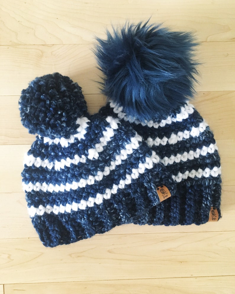 fb6111ed09e5 Blue Striped Beanie. Boys beanie. Crochet beanie. Baby beanie.