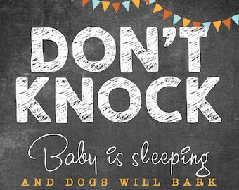 """Don't Knock Sign, Baby Sleeping INSTANT DOWNLOAD 8.7 x 11.5"""", (Text only, for house)"""