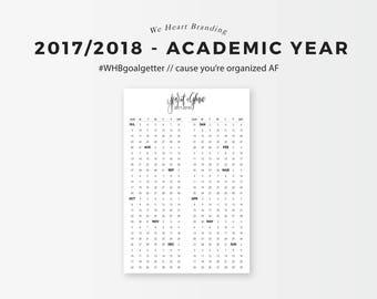 2017-2018 Academic Year at a Glance (Weeks-Based) Printable