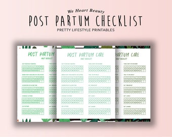 Post Partum Care Bundle - Daily Checklist