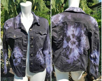 Altered Couture Remade jeans coat Back to school fashion Hand dyed tie dye Explosive print Teen fashion Unisex jacket Concert Size large LOA x9INZ