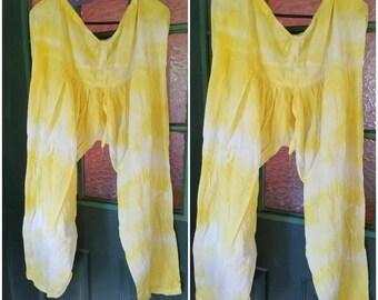 Ballon Hose Krawatte von hand gefärbt Sonne gelb Sommer Kleidung Konzert Strand Camping Yoga Meditation Gym Fun Mode für Männer und Frauen--SUNNI