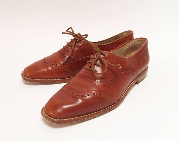 Bally Cognac Leather Brogued Oxford Flats