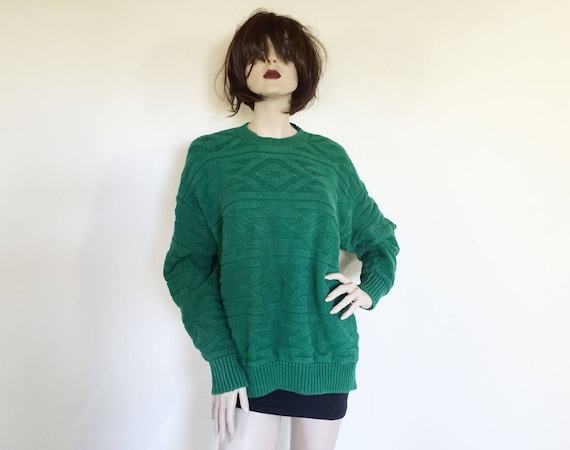 Gap Cotton Kelly Green Textured Knit Sweater - image 2