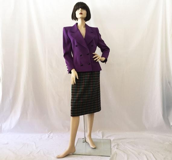 80s Givenchy Nouvelle Boutique Purple and Plaid Po