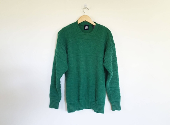 Gap Cotton Kelly Green Textured Knit Sweater - image 1