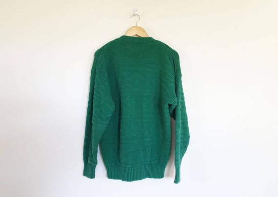 Gap Cotton Kelly Green Textured Knit Sweater - image 3