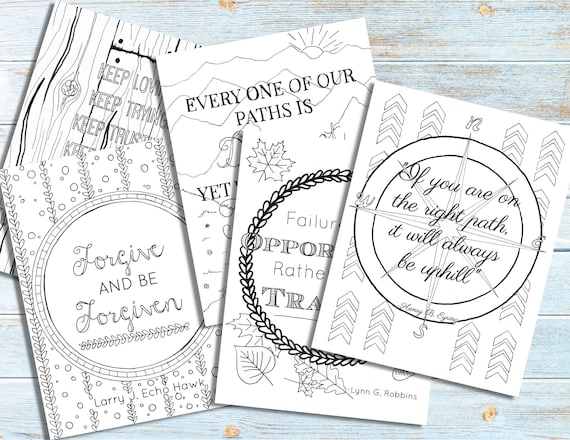 Lds General Conference Quote Coloring Pages 5 Young Women Etsy