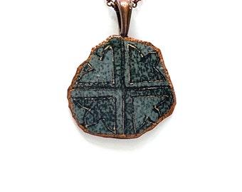 A032R  - Pysanka Pendant -  Traditional lotus Design  , on Etched Emu Eggshell