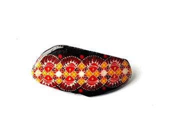 B41 - Pysanka Barrette - Red and Black on Ostrich Eggshell